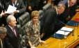 A presidente Dilma no plenário da Câmara