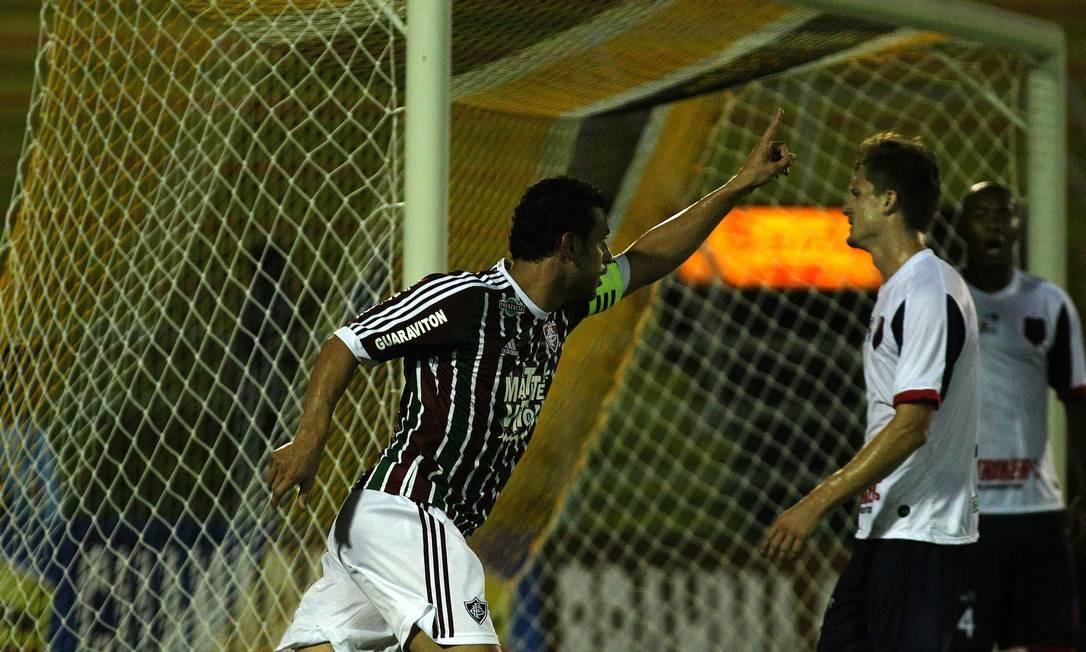 Fred comemora o gol que abriu o placar para o Fluminense em Volta Redonda Divulgação