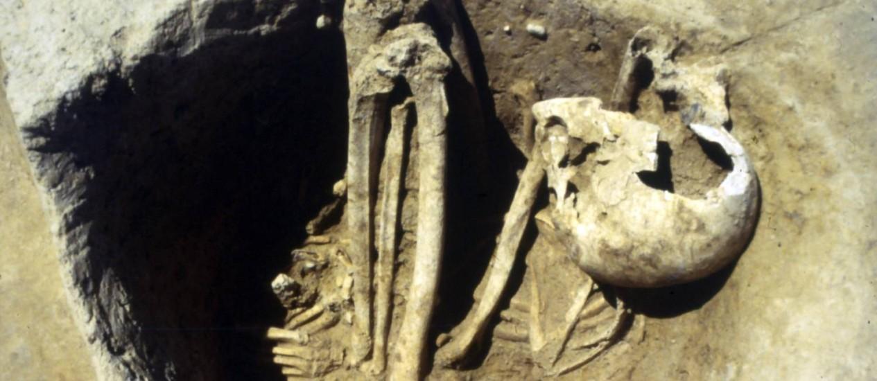 Um dos esqueletos de europeus antigos, encontrado na França, que tiveram seu DNA mitocondrial analisado na pesquisa Foto: Divulgação/L. Lang