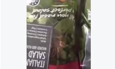 Em meio às folhas de alface e outras verduas, consumidora encontra uma aranha viva Foto: Reprodução