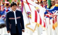 Presidente boliviano Evo Morales participa de cerimônia oficial em visita ao Palácio do Planalto, em Brasília Foto: EVARISTO SA / AFP