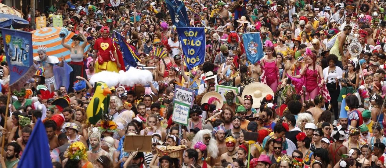 O Cordão do Boi Tolo desfila pelas ruas do Centro do Rio Foto: Ana Branco / Agência O Globo