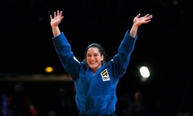A emoção de Mayra ao conquistar novamente o ouro em Paris Foto: JACQUES DEMARTHON / AFP
