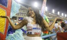 A cantora Anitta durante passagem relâmpago pelo camarote Foto: Bárbara Lopes / Agência O Globo