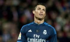 Cristiano Ronaldo disse que ficará mais dois anos no Real Madrid, mas não adiantou se pretende se aposentar no clube Foto: Jorge Guerrero / AFP