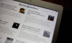 Página do 'New York Times': jornal tem mais de 1 milhão de assinantes online Foto: Andrew Harrer / Bloomberg