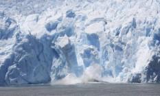 Geleira de San Rafael, no Chile: derretimento de calotas polares é a principal causa do aumento do nível do mar, que pode chegar a 25 metros, segundo estudo Foto: Paulo Moreira/13-1-2015