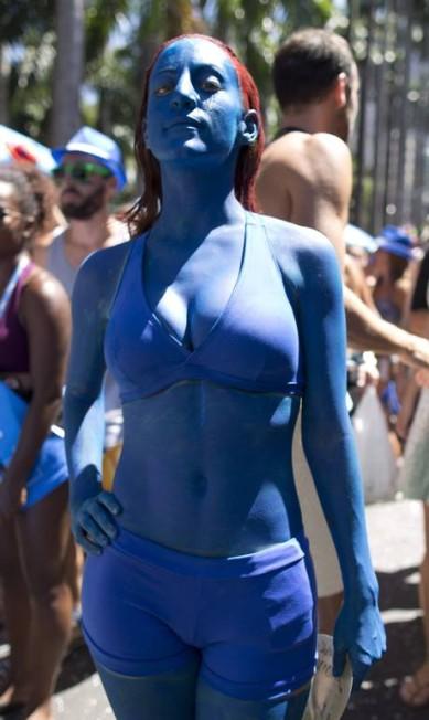 A mutante Mística, personagem da franquia X-Men, está entre nós... Márcia Foletto/ O Globo