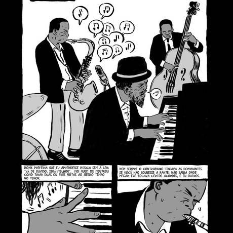Páginas de 'Coltrane', obra que segue a estrutura do álbum conceitual 'A love supreme', de 1953, para registrar os principais momentos da carreira do músico Foto: Divulgação