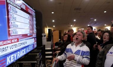 Apoiadores de Trump em Manchester comemoram após primeiros resultados saírem Foto: MATTHEW CAVANAUGH / AFP