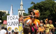 Mulheres Rodadas, que desfilou no Largo do Machado, criticou a intolerância, o machismo e o presidente da Câmara, Eduardo Cunha Foto: Custódio Coimbra / Agência O Globo