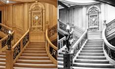 A escadaria recriada (à esquerda) e a original (à direita): ela continua a ser uma das características mais famosas do navio Foto: © bluestarline.com.au