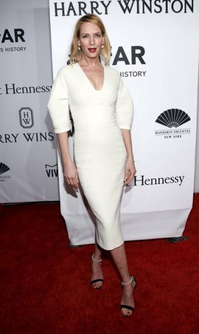 A atriz Uma Thurman também prestigiou o evento vestindo Lela Rose ANDREW KELLY / REUTERS