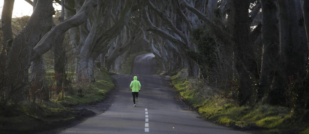 """Corredor atravessa a alameda de Bregagh Road, em Dark Hedges, em Armoy, na Irlanda do Norte. O local é cenário conhecido da série """"Game of thrones"""", e que teve faixa de ultrapassagem pintada por engano Foto: Peter Morrison / AP"""