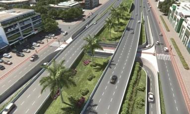 Projeção mostra como funcionarão as duas pistas expressas elevadas na Armando Lombardi Foto: Divulgação