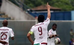 Fred comemora um de seus três gols no jogo entre Fluminense e Madureira Foto: Divulgação Fluminense/Nelson Perez