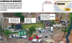 Infográfico mostra as remoções na Vila Autódromo Foto: Arte O Globo