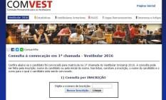 A página da Comissão Permanente para Vestibulares da Unicampi Foto: Reprodução