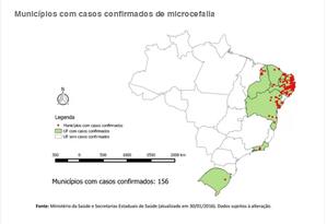 Dados sobre a microcefalia no Brasil Foto: Reprodução