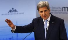 Kerry defende eleições sob supervisão internacional em territórios ocupados na Ucrânia Foto: Matthias Schrader/AP