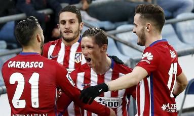 Fernando Torres comemora o gol da vitória do Atlético de Madrid contra o Getafe Foto: ANDREA COMAS / REUTERS