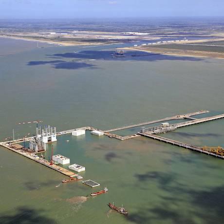 Vista aérea do porto do Açu Foto: Prumo