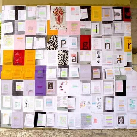Antes. O paginário sob o viaduto Saint Hilaire: registro da colagem com trechos de livros é de 24 de janeiro Foto: Diogo de La Vega / Divulgação