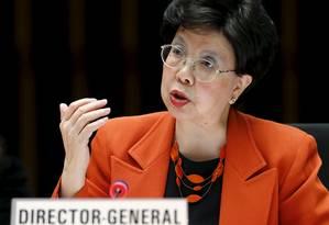 Diretora geral da OMS Margaret Chan, durante reunião do conselho executivo da entidade Foto: DENIS BALIBOUSE / Reuters