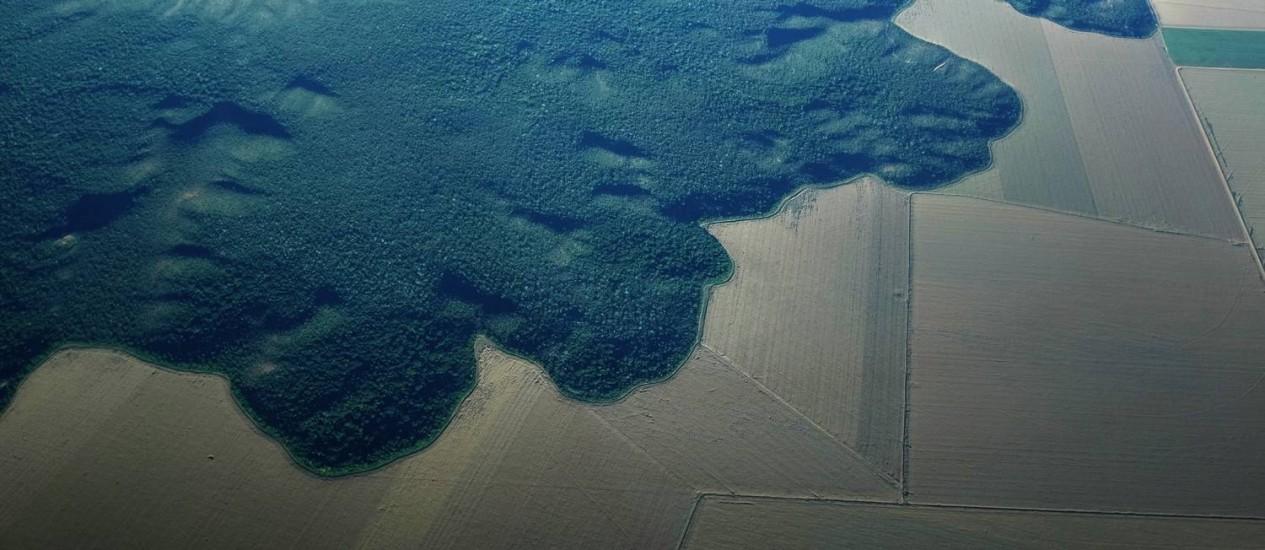 Vista aérea de região da Amazônia transformada em fazenda perto da cidade de Alta Floresta, no Pará Foto: Reuters/ 03-10-2014