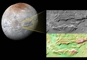 """Imagem de Caronte captada pela sonda New Horizons com destaque para o chamado 'Abismo da Serenidade"""", gigantesca falha na superfície da lua de Plutão Foto: Nasa/Universidade Johns Hopkins/Instituto de Pesquisas Southwest"""