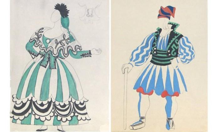 Figurinos criados por Pablo Picasso para o balé 'Le tricorne' Foto: Reprodução