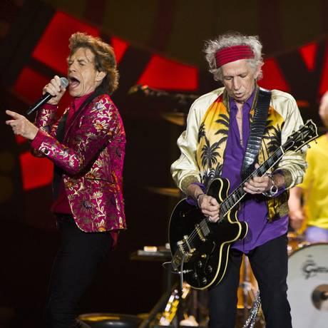 Rolling Stones durante show no Maracanã, em fevereiro de 2016 Foto: Guito Moreto / Agência O Globo