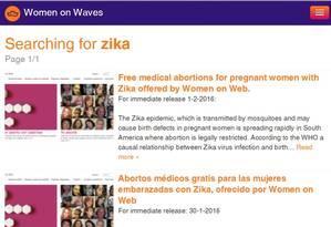 Página da Women on Waves: ONG oferece abortivos para grávidas com zika Foto: Reprodução da internet