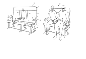 Projeto de assento ajustado da Airbus que pode ser ajustado para passageiros de variados biotipos Foto: Reprodução/Reprodução/United States Patent and Trademark Office