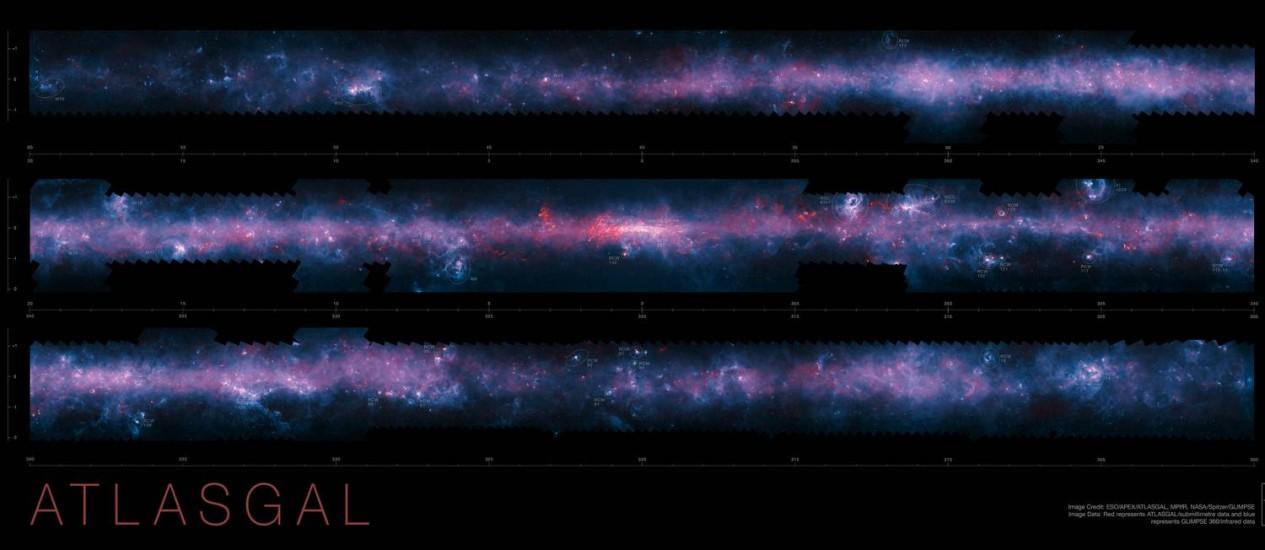 """Imagem em três """"fatias"""" da Via Láctea divulgada pelo ESO que marca a conclusão do levantamento de nossa galáxia pelo Apex, unindo dados das observações na faixa submilimétrica com micro-ondas e infravermelho pelos satélites Planck, da ESA, e Spitzer, da Nasa Foto: ESO/APEX/ATLASGAL consortium/NASA/GLIMPSE consortium/ESA/Planck"""