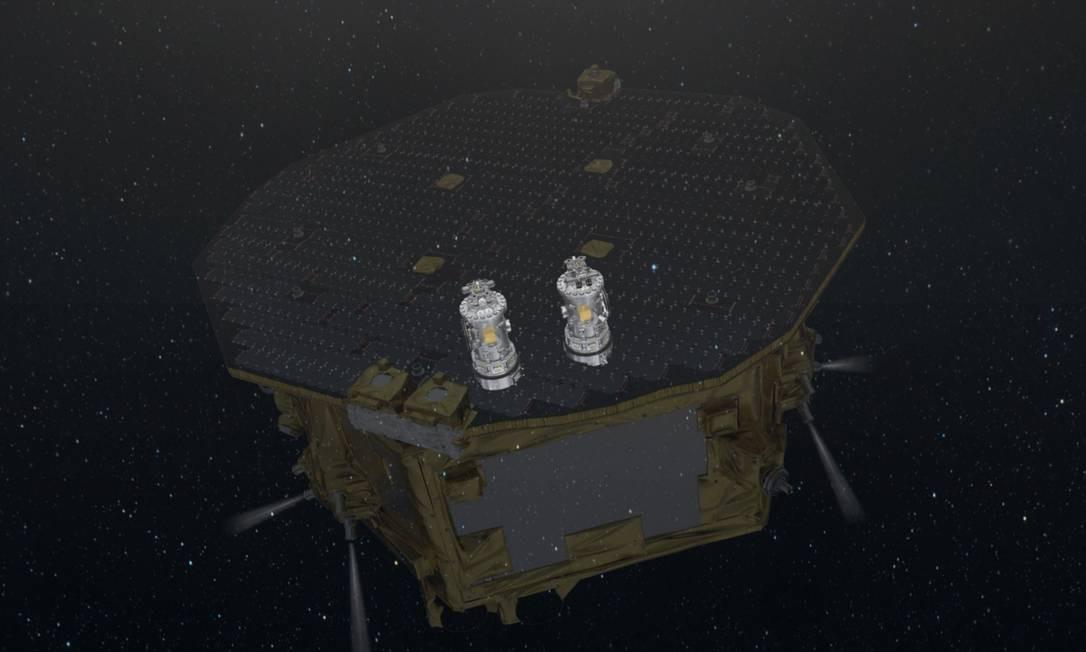 Ilustração do satélite detector de ondas gravitacionais LISA Pathfinder em operação no espaço, com destaque para as duas massas em quada livre no seu interior. Foto: ESA
