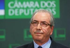 O presidente da Câmara, Eduardo Cunha (PMDB-RJ), durante entrevista coletiva nesta segunda-feira Foto: Ailton de Freitas / Agência O Globo