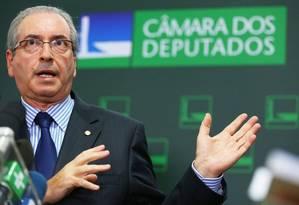 Cunha em entrevista na Câmara: procurador quer nova investigação Foto: Ailton de Freitas / Agência O Globo / 29-02-2016
