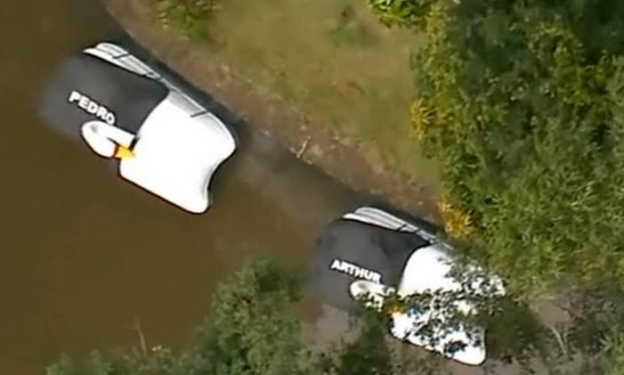 Pedalinhos estacionados em lago de sítio em Atibaia Foto: Reprodução
