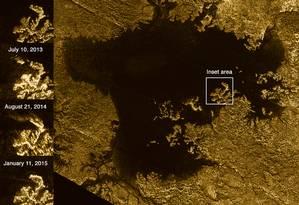 Imagem mostra as alterações no brilho em áreas de Ligeia Mare Foto: NASA
