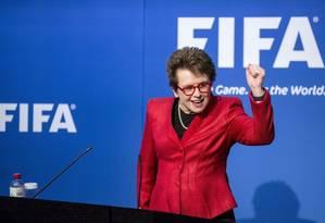 Billie Jean King, seis vezes campeã em Wimbledon, discursou na abertura da conferência na Fifa Foto: Divulgação/Fifa