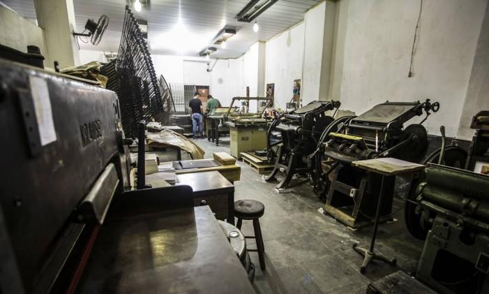 Gráfica Marly, que funciona na Rua do Livramento Foto: Aline Massuca / Divulgação