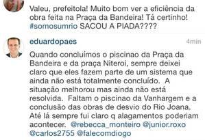 Eduardo Paes rebate críticas de seguidores no Instagram Foto: Reprodução / Instagram