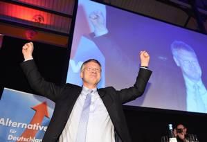 Joerg Meuthen, candidato do partido Alternativa para a Alemanha (AfD), comemora resultado das eleições Foto: FELIX KASTLE/AFP / .