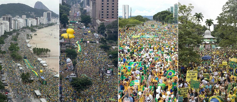 Manifestações em Copacabana, Avenida Paulista, Esplanada dos Ministérios (DF) e Praça da Liberdade (BH) Foto: O GLOBO/Divulgação