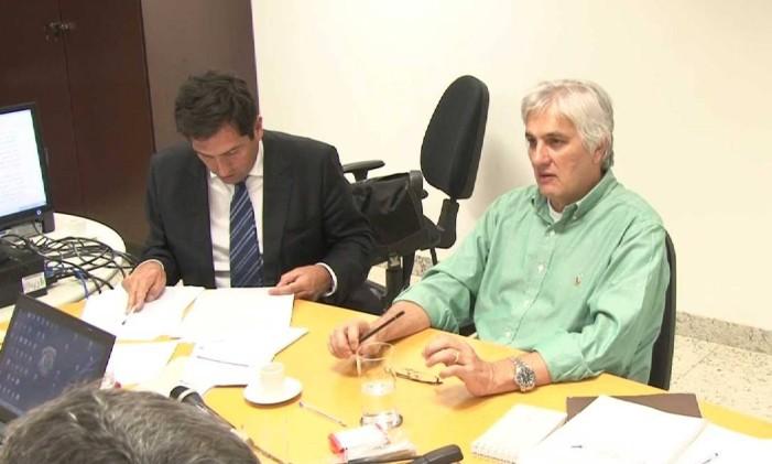O senador Delcídio Amaral durante depoimento à PF em acordo de delação premiada Foto: Reprodução