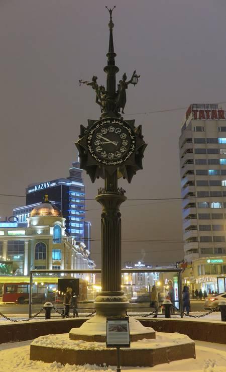 Relógio árabe em Kazan, na Rússia Foto: Juarez Becoza / Juarez Becoza