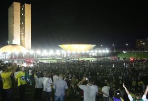 Manifestantes fizeram ato em frente ao Palácio do Planalto Foto: Michel Filho