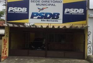 Sede do PSDB em São Bernardo do Campo amanheceu pichada Foto: Divulgação
