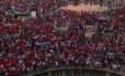 Manifestação de apoio ao ex-presidente Lula e ao governo Dilma Rousseff em Brasília